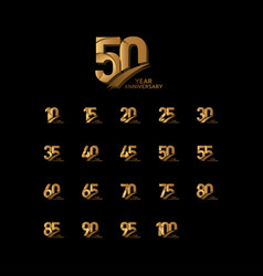 50 years gold elegant anniversary celebration vector
