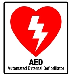 A red aed sticker with heart shape vector