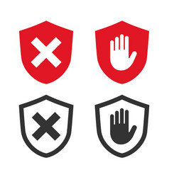 adblock and shield icons vector image