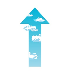 An arrow with cloud vector