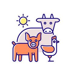 Animal husbandry rgb color icon vector