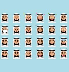 arabian businessman various facial expressions set vector image