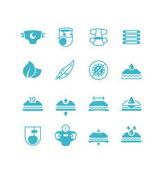 Baby diaper production characteristics icons soft vector