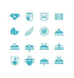 Badiaper production characteristics icons soft vector