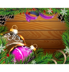 Baubles and fir branches on wooden board vector