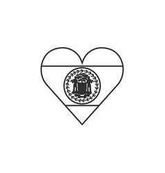 belize flag icon in a heart shape in black vector image
