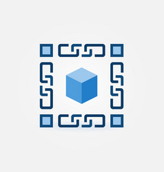 Blue 3d cube with chain icon blockchain vector