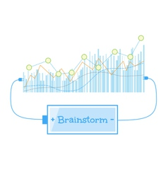 Brainstorm word charging battery power with grow vector