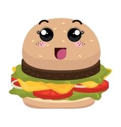 burger fast food kawaii style vector image
