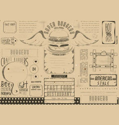 burger placemat on craft paper vector image
