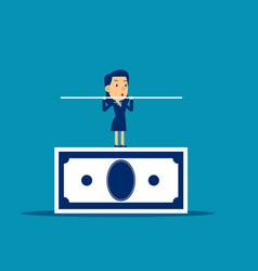 businessman balancing on banknote concept vector image