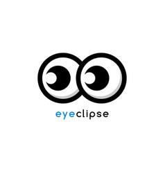 Cartoon eye eclipse theme identity logo template vector