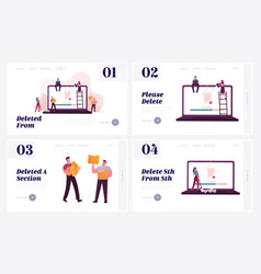 Characters deleting information landing page vector