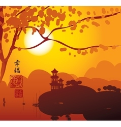 China landscape with Pagoda vector