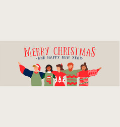 christmas and new year diverse people group banner vector image