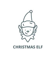 christmas elf line icon linear concept vector image