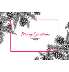 christmas holiday greeting card with fir tree and vector image