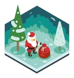 Christmas Santa Claus Grandfather Frost Gift Bag vector image