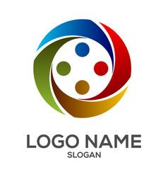 circle human element logo design vector image
