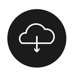 Cloud storage and dowload arrow icon block style vector