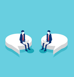 colleague sitting on a speech bubble vector image