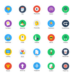 Collection flat random icons vector