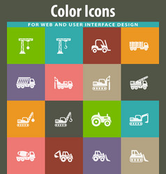 Construction transport icons set vector