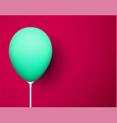 Crimson background with green realistic 3d balloon vector