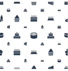 Cupcake icons pattern seamless white background vector