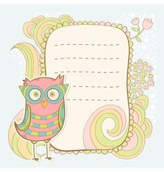 Cute cartoon owl stylish sticker card vector