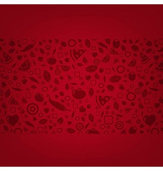 Dark Red Background With Food Icons vector image