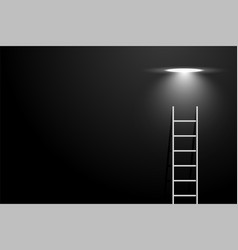 Dark room with ladder and spot light bulb concept vector