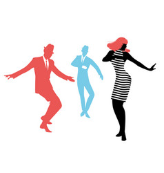 elegant silhouettes people wearing clothes of vector image