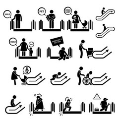 Escalator warning signs and symbols pictogram vector