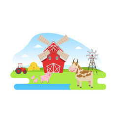 farm animals red barn and windmill on beautiful vector image