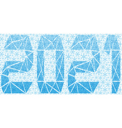 Festive banner with blue snowflakes and 2021 vector