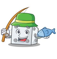 Fishing dice character cartoon style vector