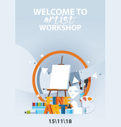 Flat vertical poster for artist workshop classes vector