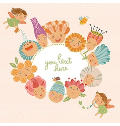 Floral background with funny fairies vector image