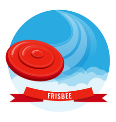 Flying disk red frisbee on blue sky vector