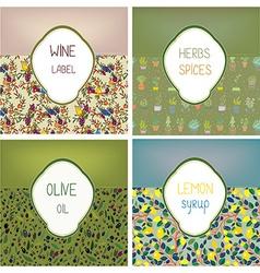 Food labels set design with patterns vector image