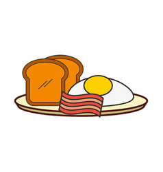 fried eggs bread toast and bacon breakfast vector image