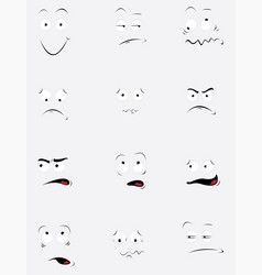 funny cartoon faces in different poses and feeling vector image