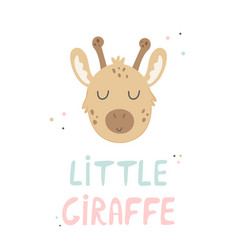 giraffe hand drawn face character vector image