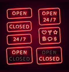 Glowing retro neon open and closed signs set with vector