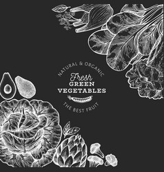 Green vegetables design template hand drawn food vector