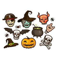 halloween of labels or stickers holiday vector image