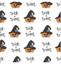 halloween pumpkin wearing witch hat seamless vector image