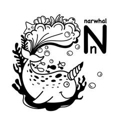 Hand drawnalphabet letter n-narwhal vector