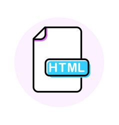 html file format extension color line icon vector image